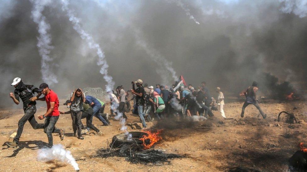 Aksi protes warga Gaza