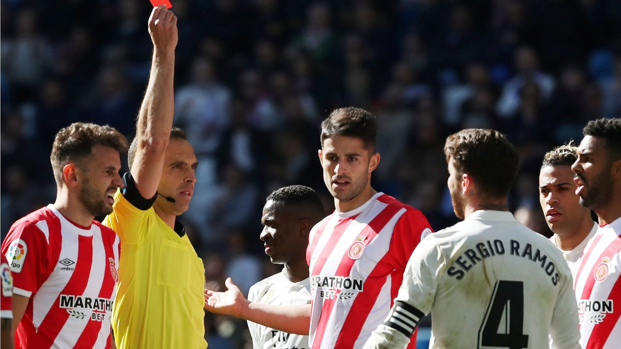 Real Madrid 1-2 Girona: Sergio Ramos sent off in shock La Liga defeat