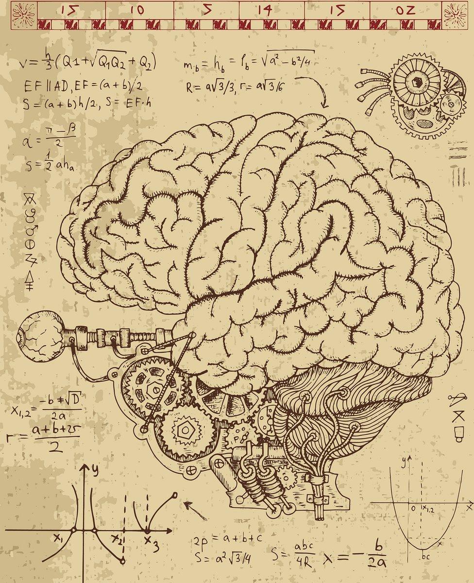 cerebro con fórmulas vintage