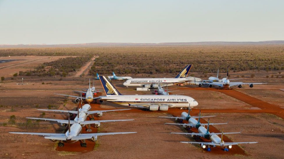 Planes in storage at Alice Springs