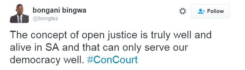 """tweet reading """"the concept of open justice is truly well and alie in SA and that can only serve our democracy well"""