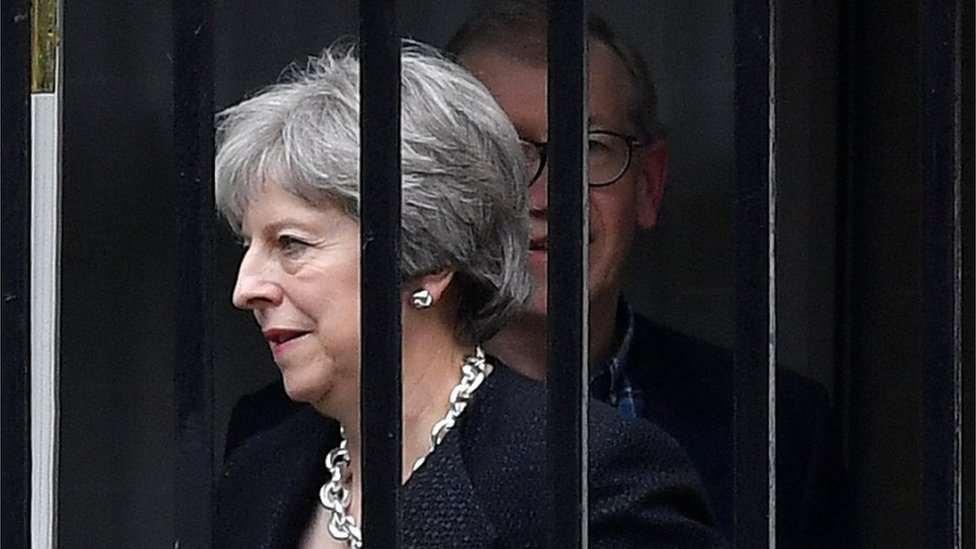 Theresa May leaves Downing Street on Thursday