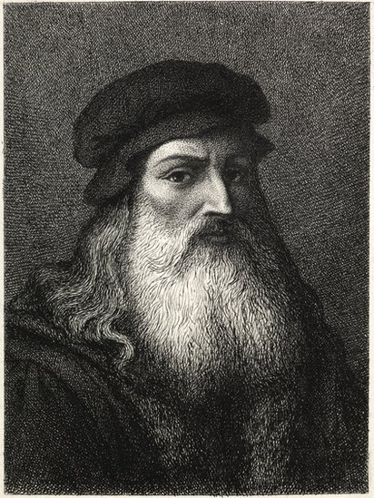 Retrato de Leonardo Da Vinci en blanco y negro.