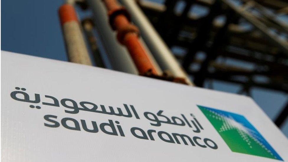 Saudi Aramco sign in Abqaiq, Saudi Arabia (file photo)