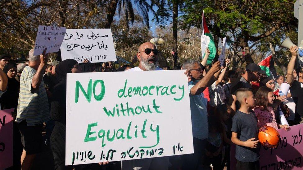 Protesta de un grupo de árabes israelíes.