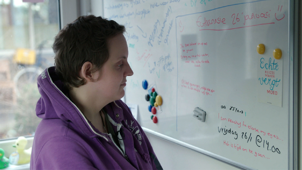 Aurelia Brouwers and her whiteboard, with one day to go