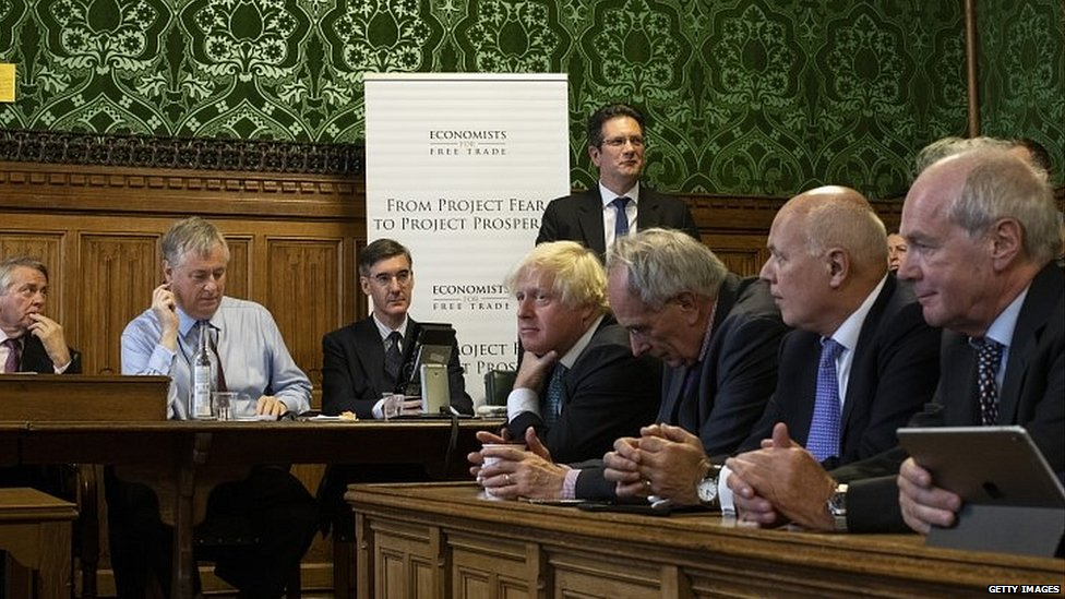 Boris Johnson, Iain Duncan Smith, Jacob Rees-Mogg and other Tory MPs at the launch of the Economists For Free Trade report