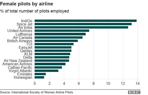 Chart showing the % of female pilots employed by airline.
