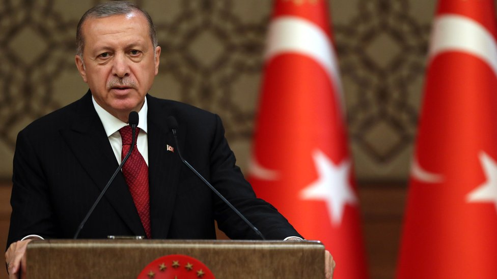 Turkish President Recep Tayyip Erdogan speaks during his press conference at the Presidential Palace after taking his oath of office, in Ankara, Turkey, 9 July 2018