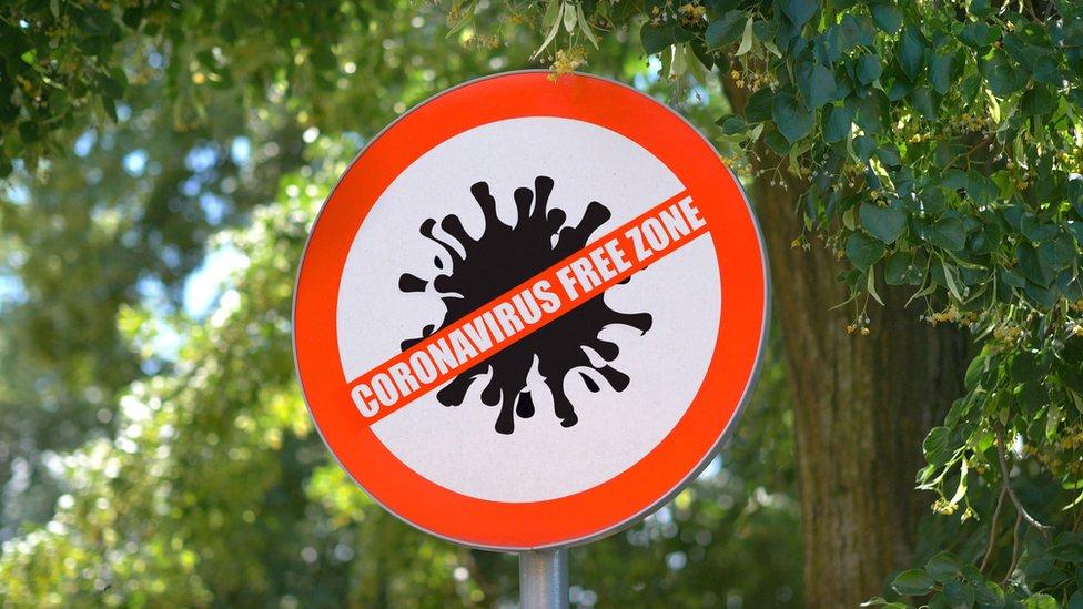 """Señal que lee: """"Zona libre de coronavirus"""""""