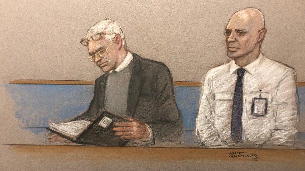 Ilustracija Asanžovog obraćanja na sudu
