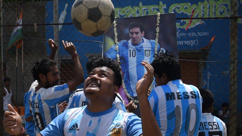 Aficionados de Messi en India.