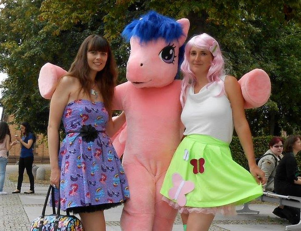 Martina Foster (right) with a fellow My Little Pony enthusiast