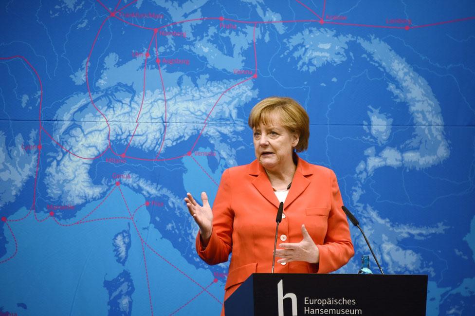 Angela Merkel durante la inauguración del Hansemuseum.