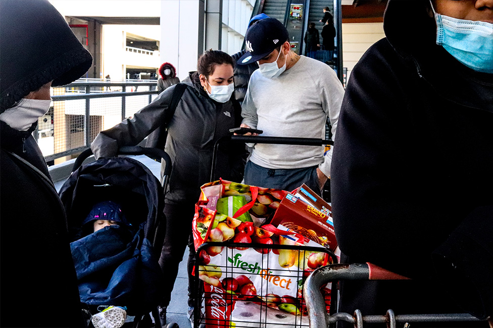 Una fila en un supermercado