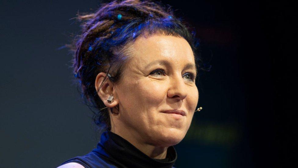 Olga Tokarcxuk en el Hay Festival de Gales, 2018.