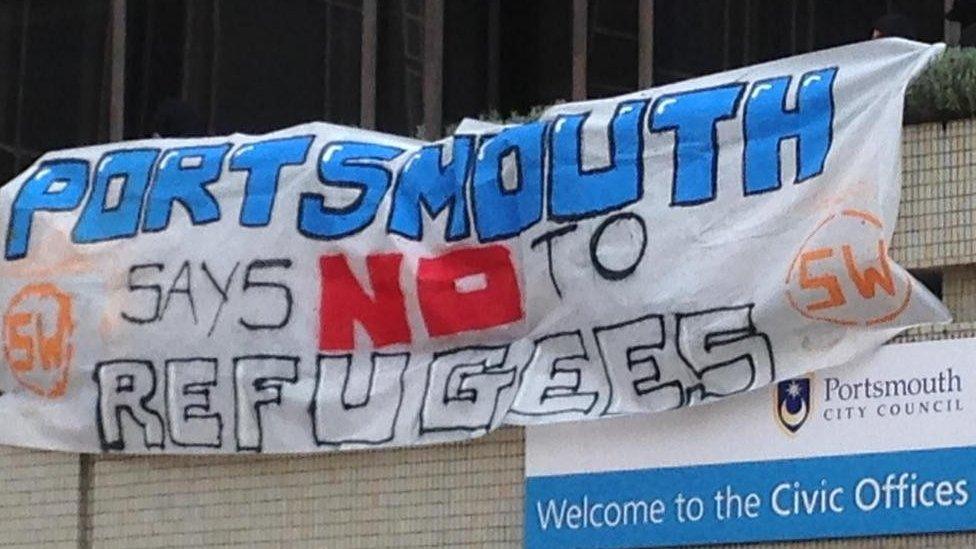 Anti-refugee banner