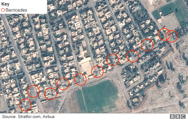 Satellite image showing barricades north of the airport in Mosul