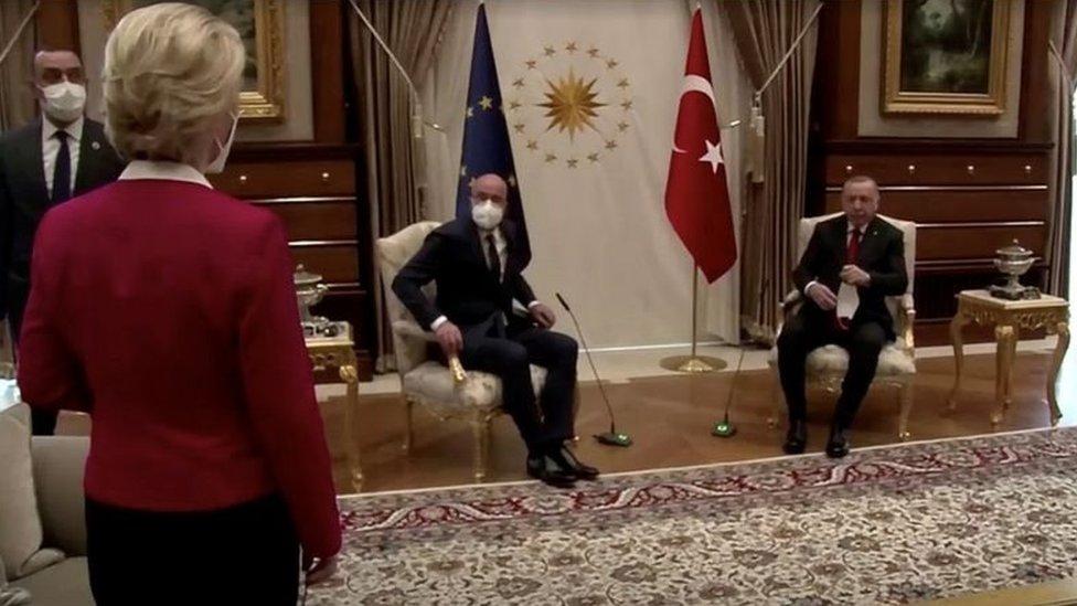 Avrupa Komisyonu Başkanı Ursula von der Leyen, AB Konseyi Başkanı Charles Michel ve Cumhurbaşkanı Recep Tayyip Erdoğan