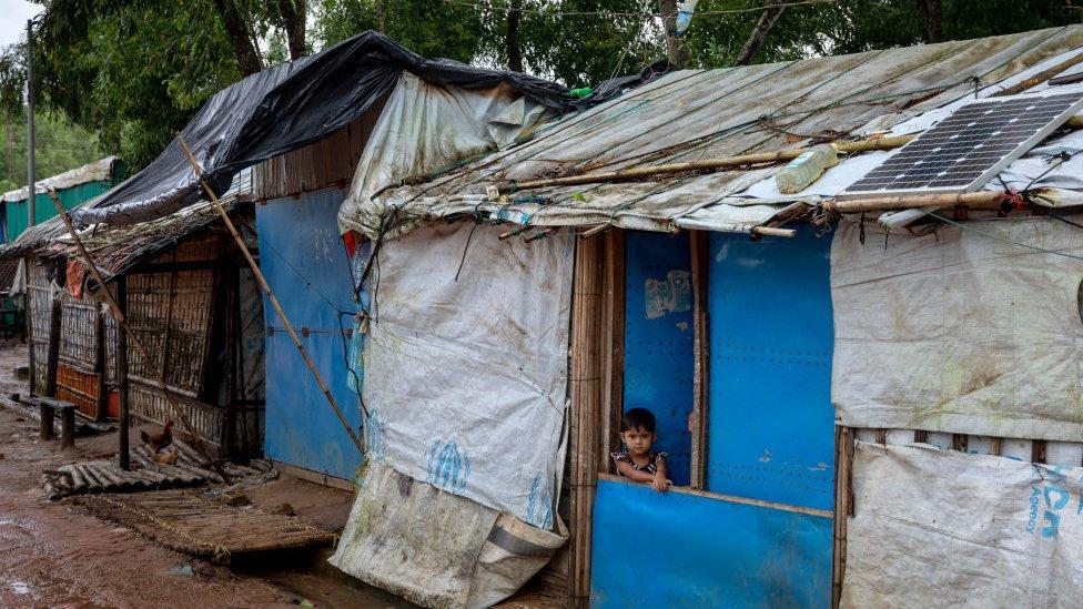 Shops are closed at the Kutupalong Rohingya refugee camp in Ukhiya