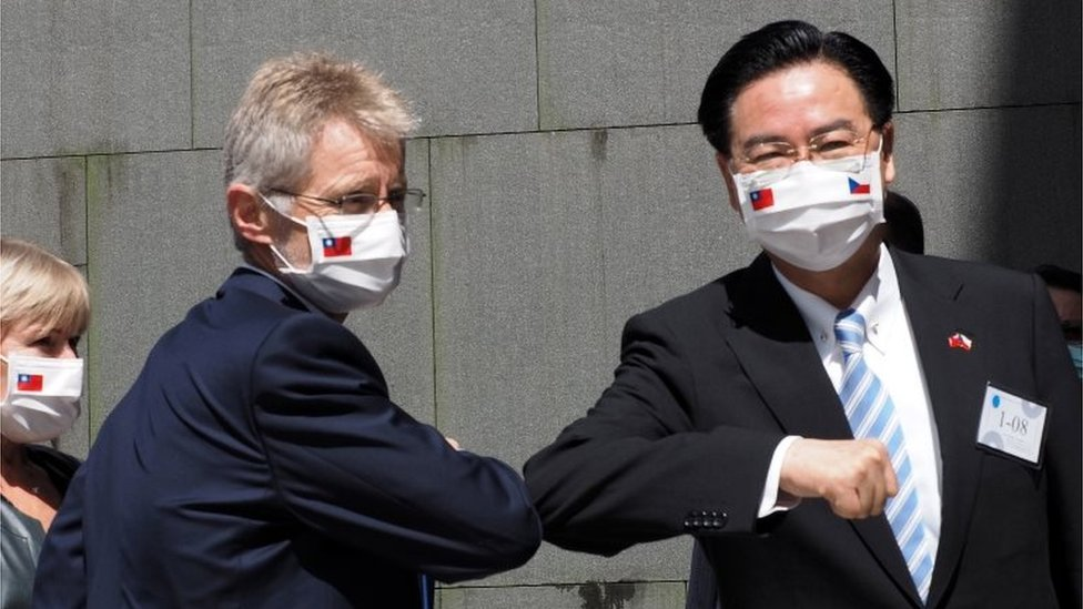 Czech Republic Senate President Milos Vystrcil (L) greets Taiwan Foreign Minister Joseph Wu (R) as he arrives at National Chengchi University to deliver a speech in Taipei, Taiwan, 31 August 2020.