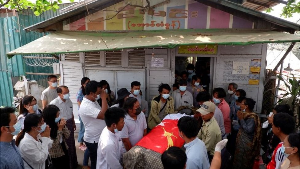 The funeral of Kyaw Win Maung, who was shot and killed during a protest against the military coup, in Mandalay