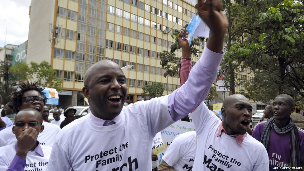 Kenyans, some of whom are members of a Christian lobby group, protest against homosexuality in Nairobi on Monday.