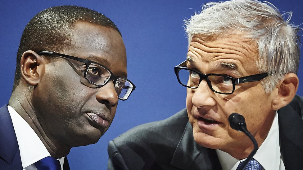 Tidjane Thiam and chairman Urs Rohner at a Credit Suisse shareholders' meeting