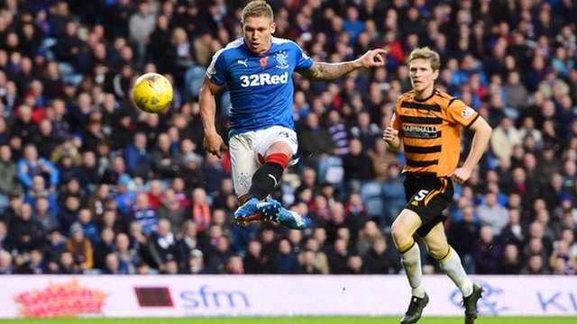 Martyn Waghorn scores for Rangers against Alloa Athletic