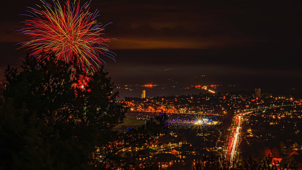 A firework display in Lochee Park, Dundee