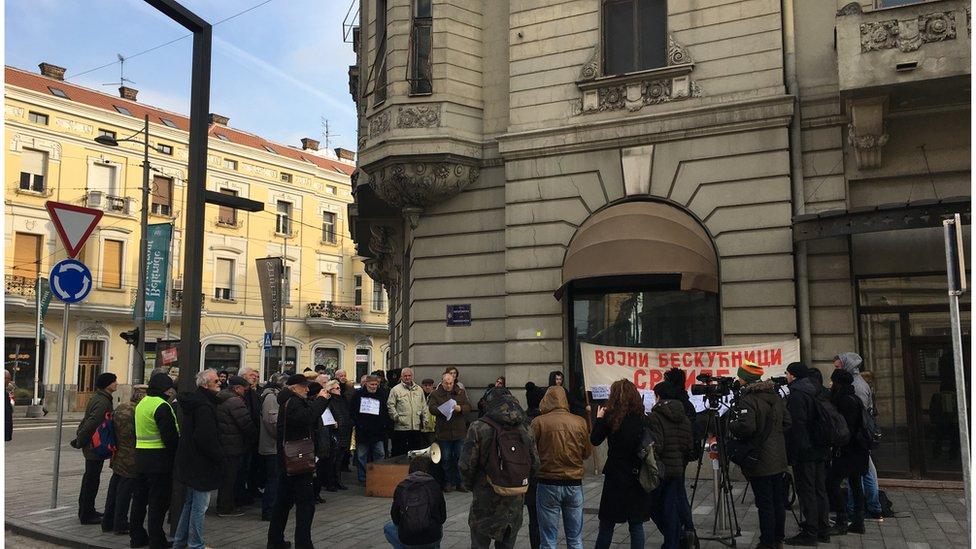 Hotel Bristol, protest Udruženja vojnih beskućnika Srbije, 27.12.2018.