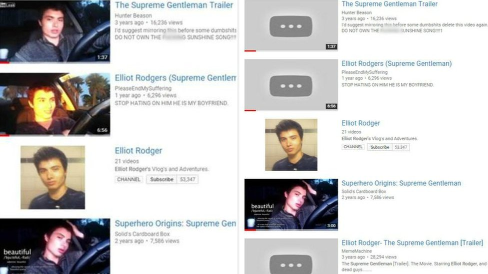 Screenshots show YouTube has took down videos BBC contacted them about (before and after showing thumbnails missing)