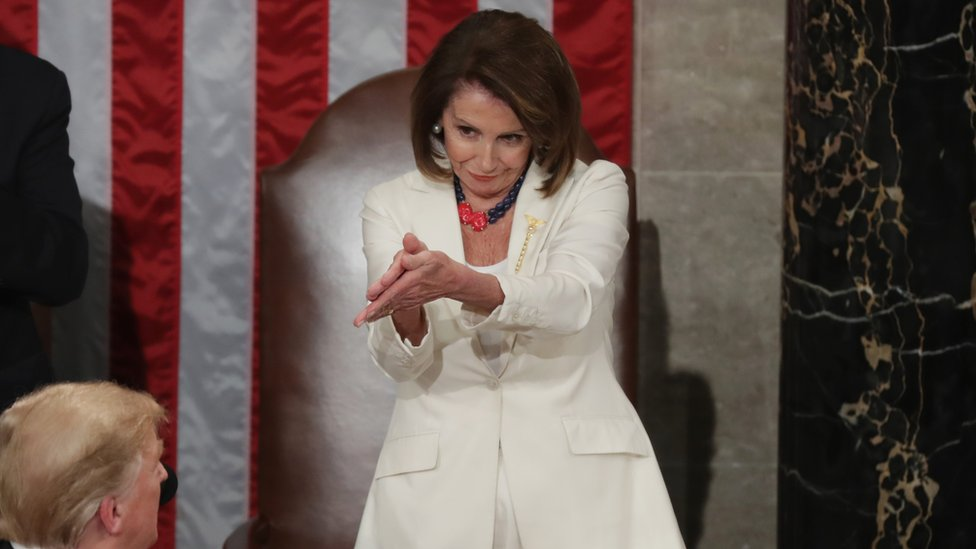 Nancy Pelosi applauds Trump during State of the Union