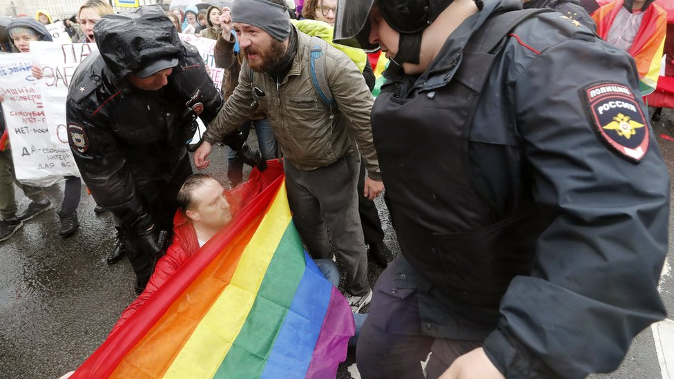 Gay rights activist held by police in Russia