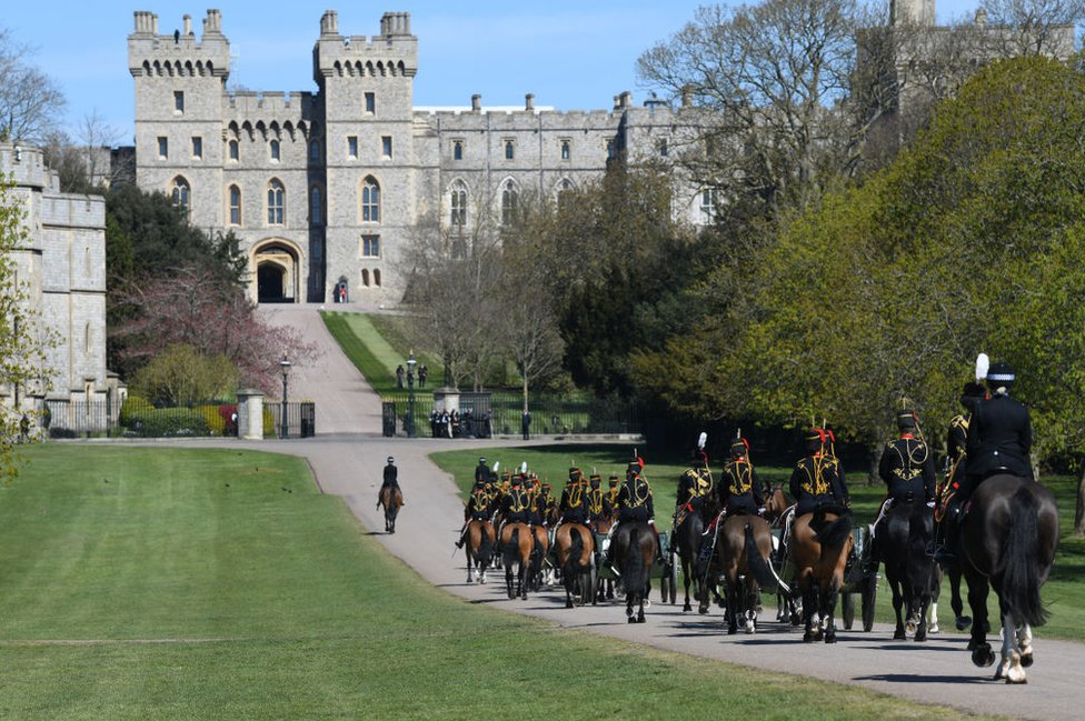 The King's Troop, Royal Horse Artillery enter into Windsor Castle ahead of the funeral of Prince Philip, Duke of Edinburgh on April 17, 2021 in Windsor, England.