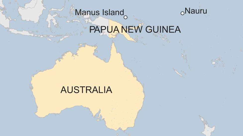 Map shows Australian detentions centres on Manus Island and Nauru-nc