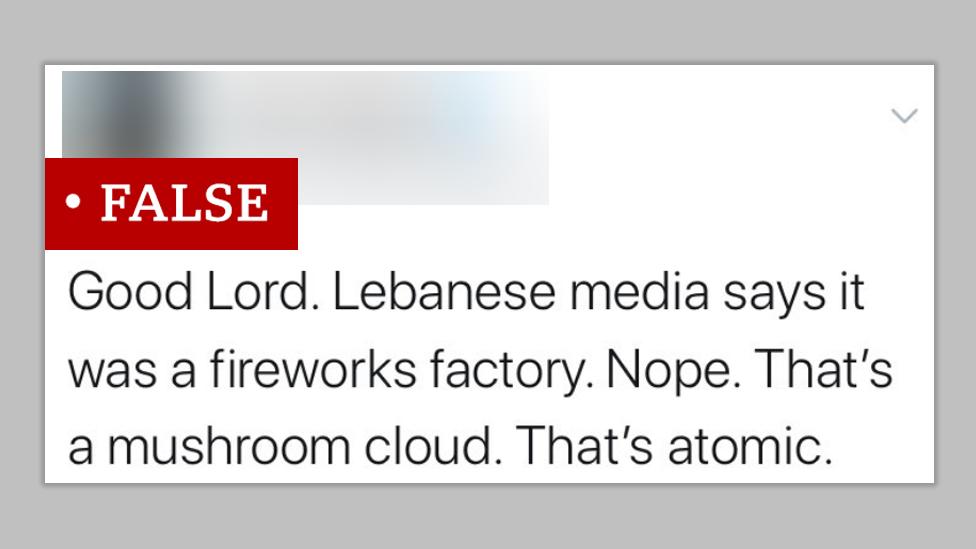 Sebuah komentar di Twitter menyebut ledakan yang memunculkan awan berbentuk jamur di Beirut akibat dari bom atom. Kami melabeli twit itu sebagai informasi