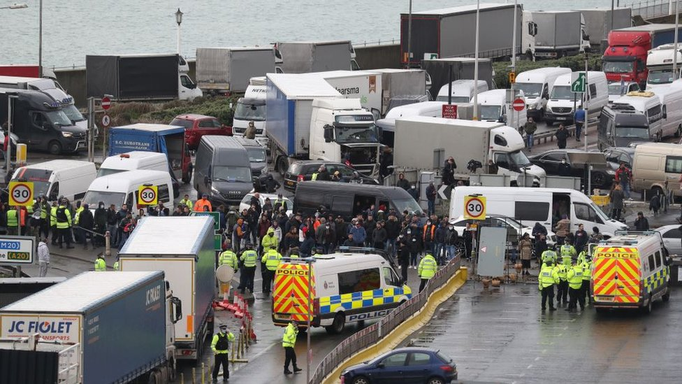 Traffic blocks the roads around the Port of Dover in Kent