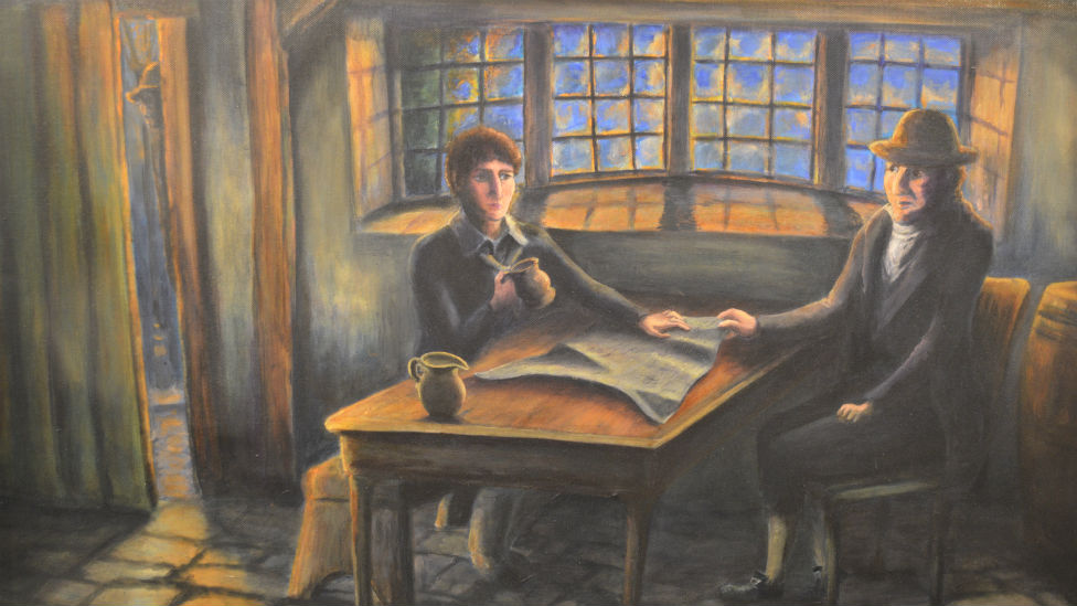 Painting of conspirators in pub