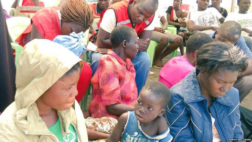 Kenya Red Cross team helping survivors of an accident on Lake Victoria - Wednesday 5 August 2015