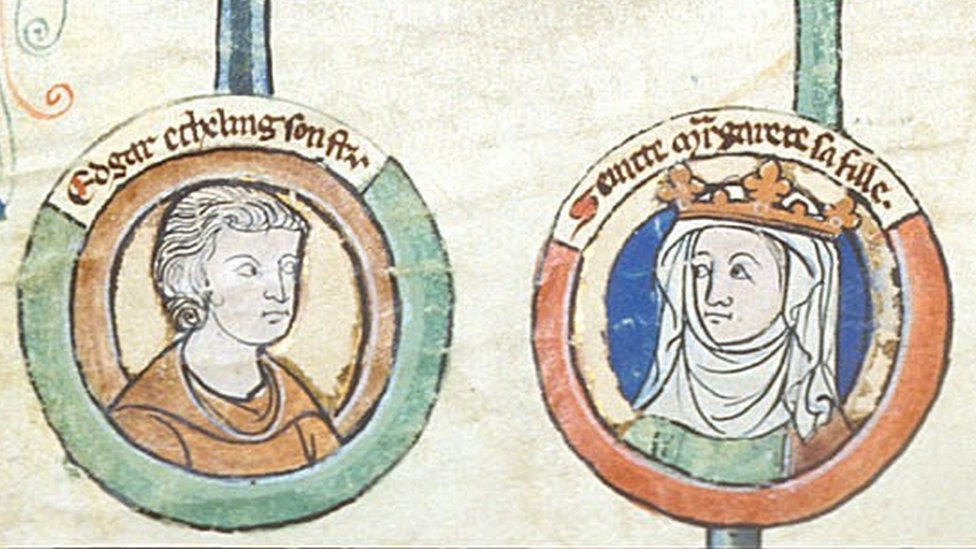 Edgar the Aetheling and his sister Saint Margaret of Scotland, as imagined on a 14th-century manuscript in the British Library.