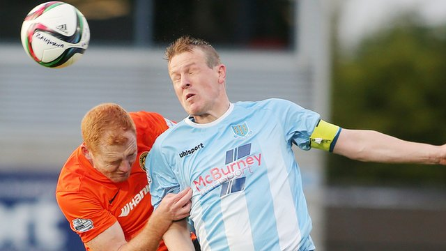 Allan Jenkins of Ballymena United in action against Carrick Rangers