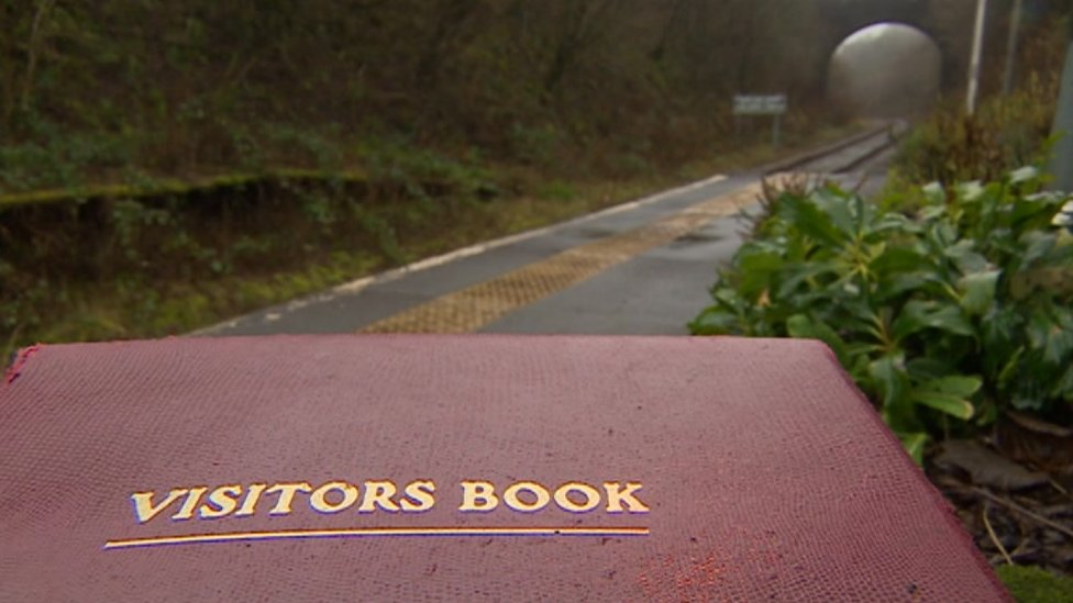 The Sugar Loaf halt in Powys and its visitor book