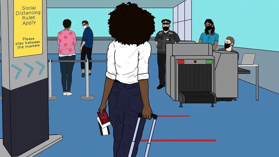 Ilustração de uma mulher num aeroporto