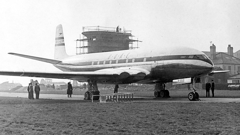 The first four engine jet liner the Comet at Luton Municipal Airport in 1952