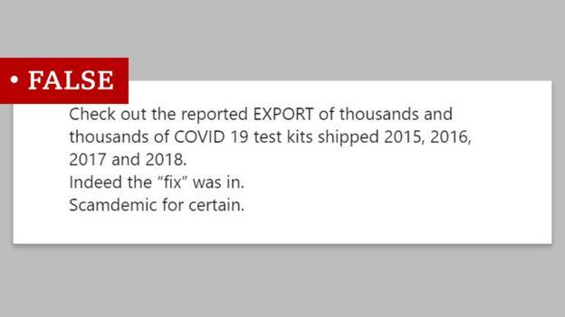 منشور مضلل يزعم أن اختبارات فحص الإصابة بكوفيد-19 كان قد تم بيعها عام 2017