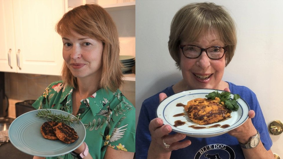 Nell Mackenzie and Anne Mooney cook with a recipe made up with artificial intelligence