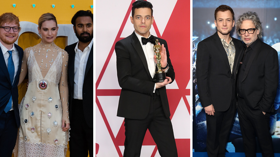 Ed Sheeran, Lily James and Himesh Patel from Yesterday, Rami Malek with his best actor Oscar for Bohemian Rhapdosy and Rocketman star Taron Egerton, alongside director Dexter Fletcher.