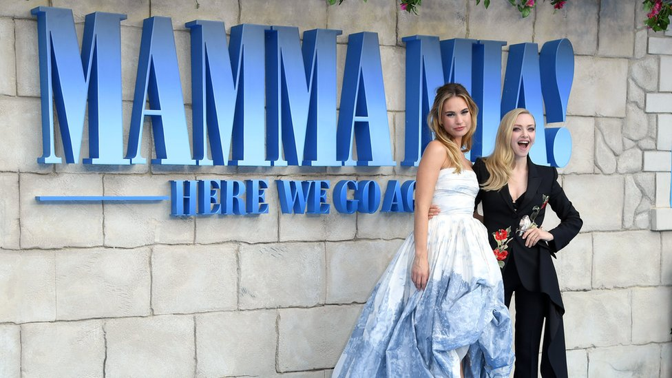 Lily James and Amanda Seyfried at the Mamma Mia! Here We Go Again premiere