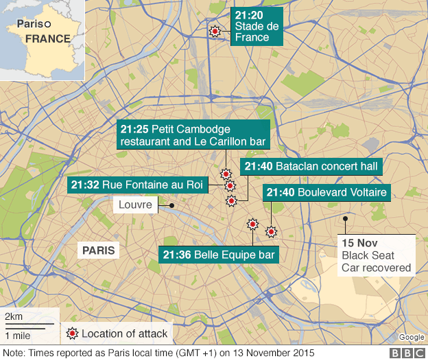 Map showing venues in Paris where Nov 13 attacks happened